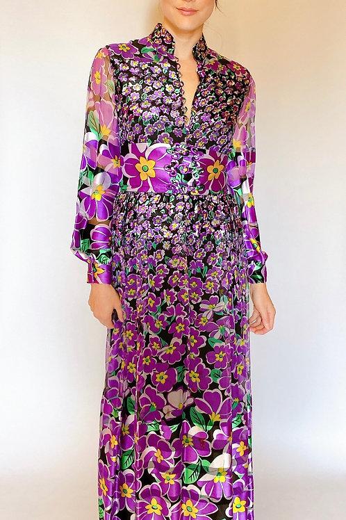 Oscar de la Renta Silk Cheongsam Style Dress