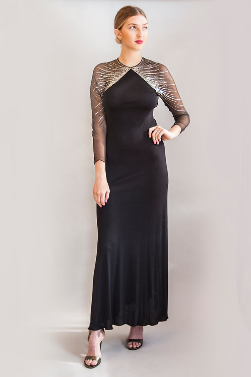 1970s Mollie Parnis Rhinestone Dress