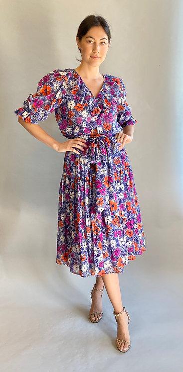 Yves Saint Laurent Cotton Floral Blouse,Skirt, and Scarf Set