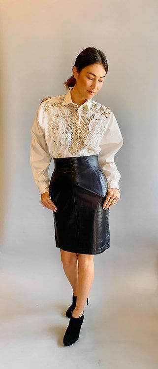 Claude Montana High Waisted Leather Skirt