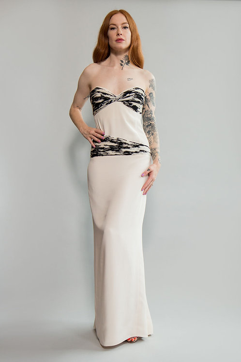 90s Silk and Chiffon Strapless Gown