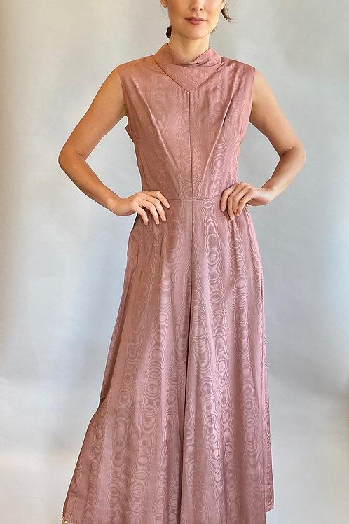 Pale Pink Moire Cowl Neck Dress