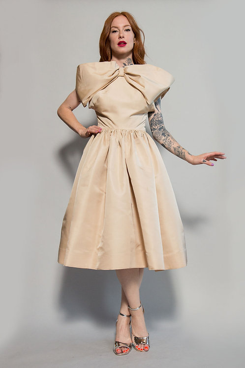 50s Silk Exaggerated Bow Fit Flare Dress