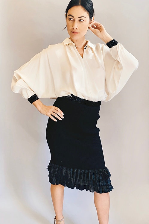 Cream Silk Batwing Sleeve Blouse with Sequin Hem & Cuff