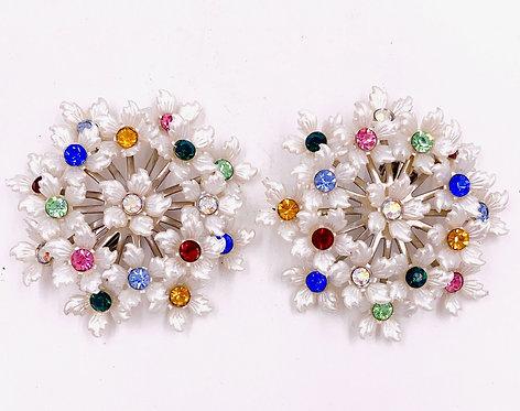 White Floral Bouquet Clip Rhinestone Earrings