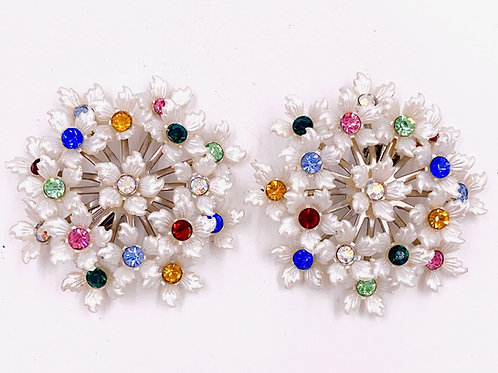 White Floral Bouquet Clip Rhinestone Earrings