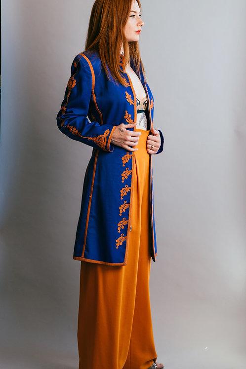 Vintage 1970's Mary McFadden 2 Piece Blue and Orange Ensemble