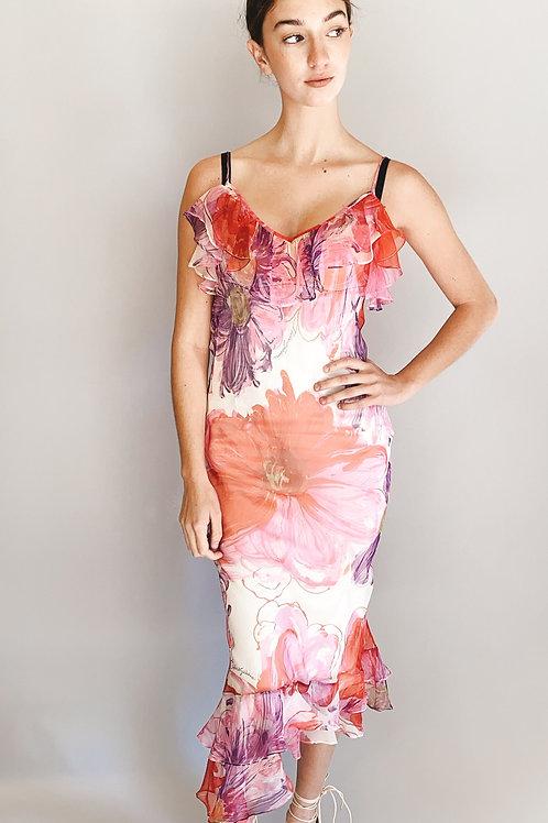 Dolce & Gabbana Silk Floral Sheer Slip Dress
