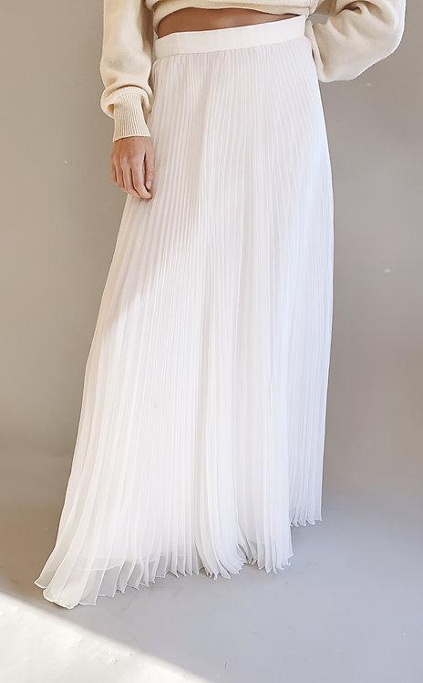 Adolfo White Pleated Maxi Skirt