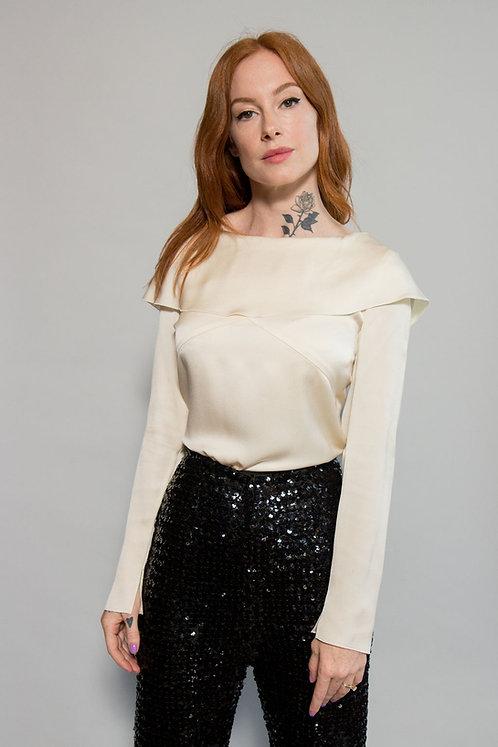 Chanel Silk Wide Collar Blouse