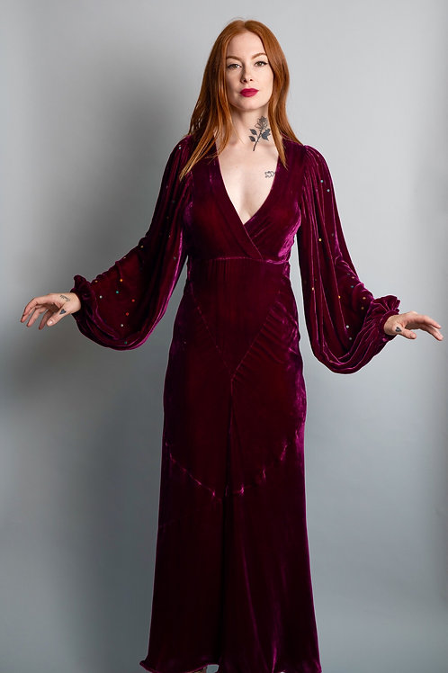 1930's Silk Velvet Balloon Sleeve Gown