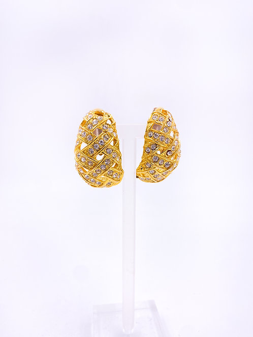 Gold Crystal Clip On Earrings