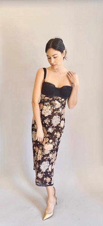 Dolce & Gabbana F/W 1996 Floral Bra Open Back Slip Dress