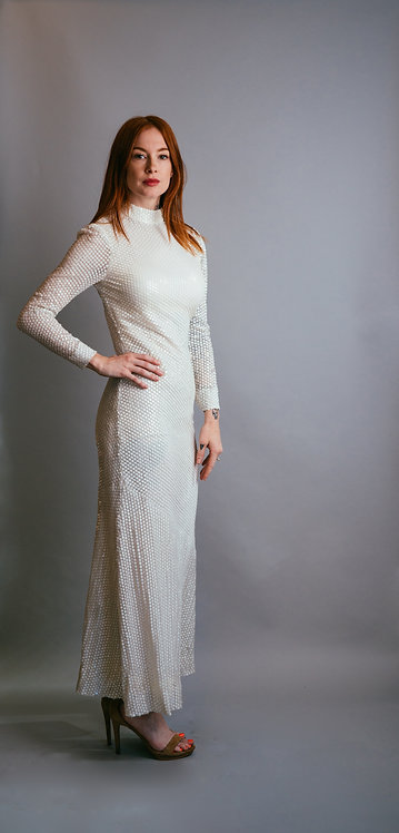 70s Richilene White Sequin Gown