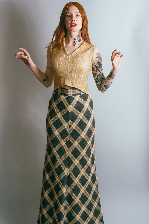 70s Geoffrey Beene Wool Skirt and Gold Top Set