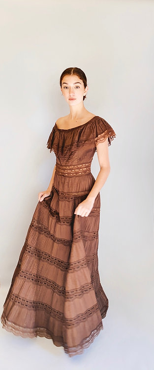 1970's Chocolate Brown Cotton and Lace Prairie Off The Shoulder Dress