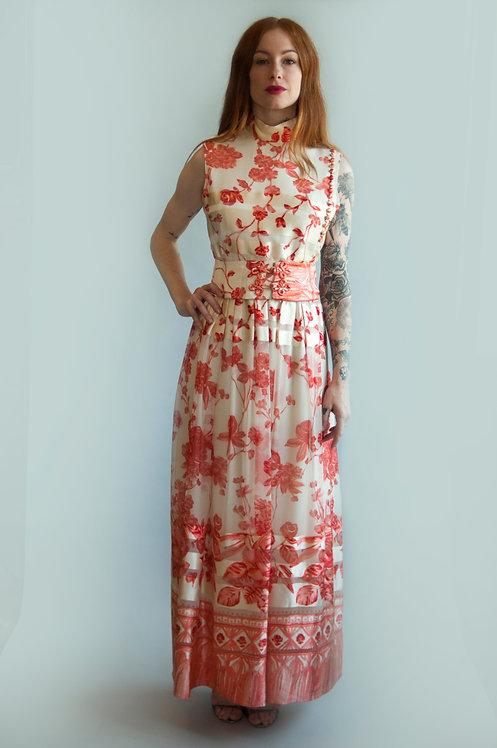 Vintage 1960s Oscar De La Renta Floral Silk Dress