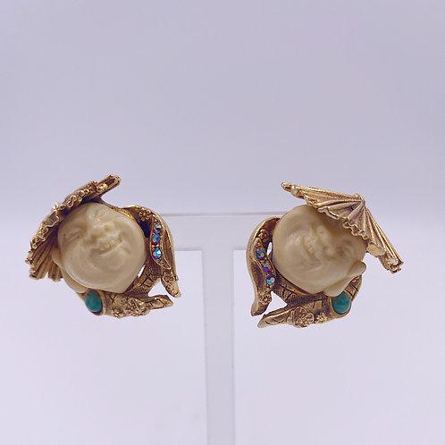 1950's Har Asian Man Earrings
