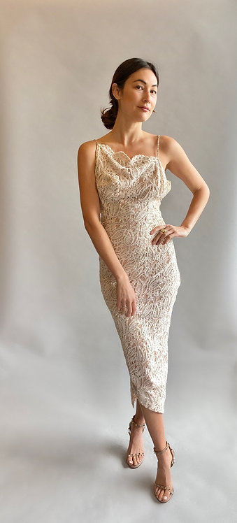 1950's White Lace & Beaded Low Back Gown
