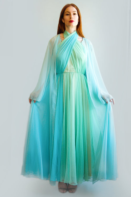 Vintage 1970s Chiffon Halter Dress and Duster Set