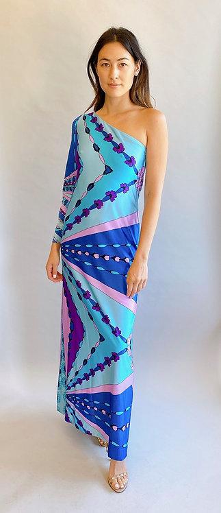 Victor Costa Romantica Asymmetric Printed Dress