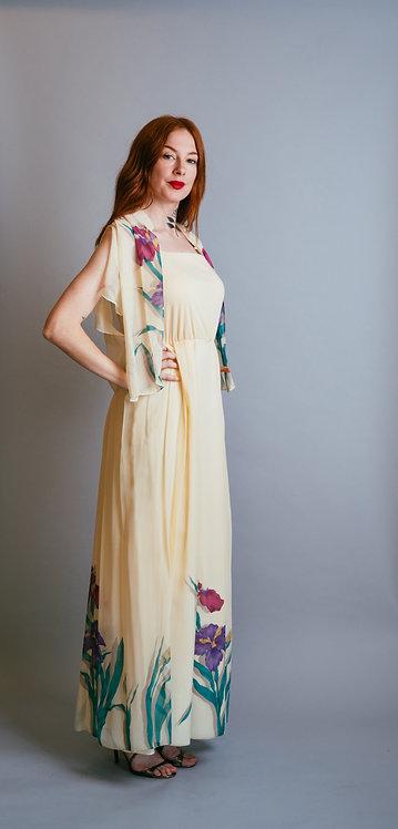 70's I.magnin Floral Maxi Dress 2Pc