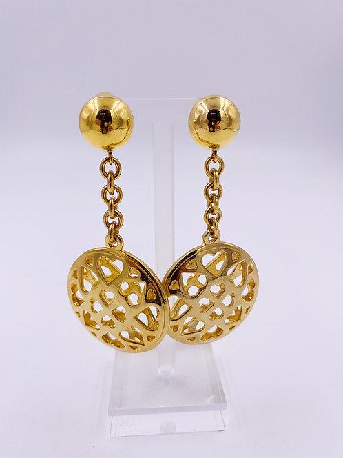 Moschino Hollow Heart Drop Earrings