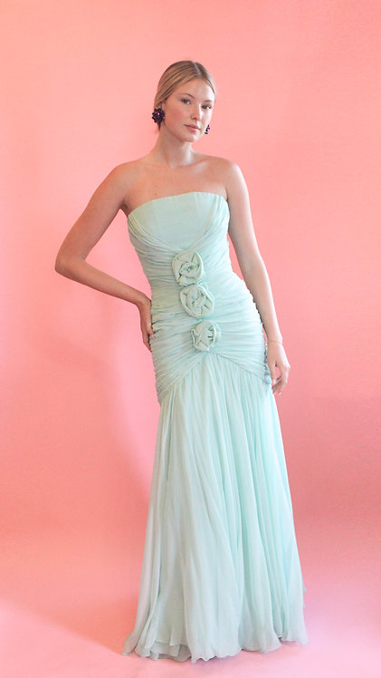 Scaasi Chiffon Ruched Strapless Gown