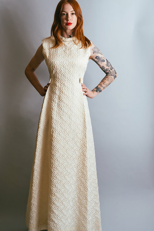 60's Michael Novarese White High Neck Gown