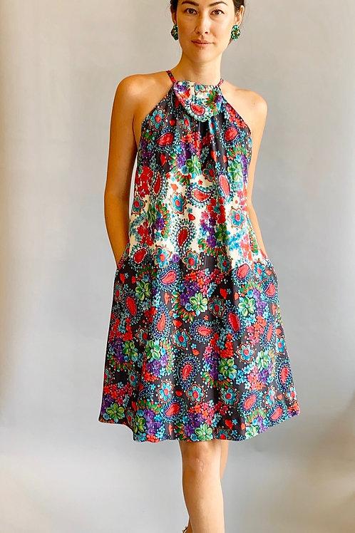 1967 Pauline Trigere Documented Silk Floral Print Dress