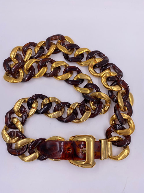 Tortoise Shell Lucite and Gold Chain Link Belt