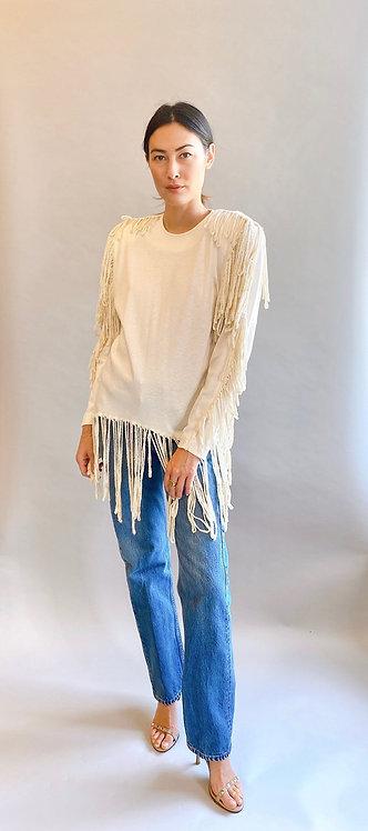 White Rope Fringe Cotton Sweatshirt with Rope Fringe