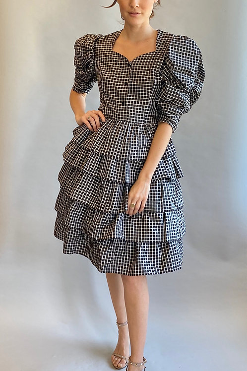 Hanae Mori Gingham Black & White Puffed Sleeve Cocktail Dress
