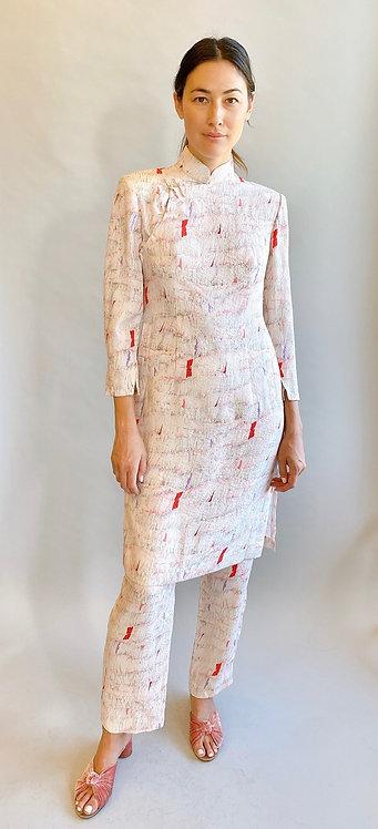 Hanae Mori Mandarin Collar Silk Tunic & Pant Set