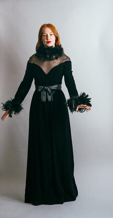 1970' Oscar De La Renta Velvet & Feather Gown