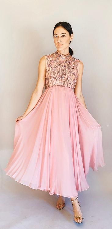 Claire Pearone 1960's Pink Rhinestone chiffon Gown