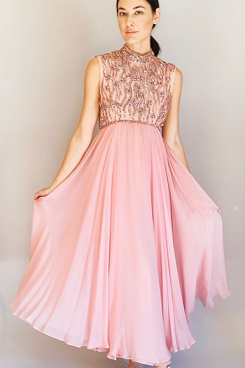 Claire Pearone 1960's Pink Rhinestone chiffon Gown