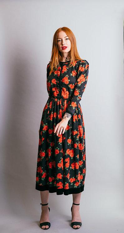 Vintage Yves Saint Laurent Rive Gauche Floral Dress with Velvet Hem