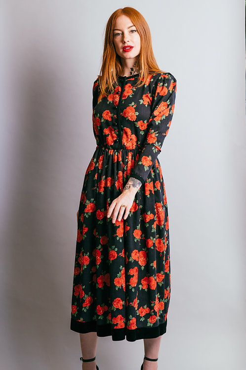 Vintage Yves Saint Laurent Rive Gauche Floral Dress with Velvet Hem