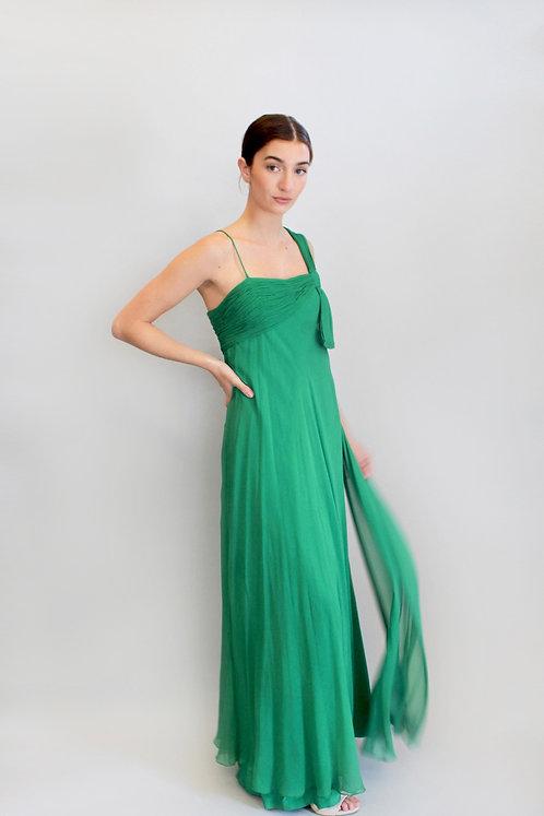 I. Magnin Kelly Green Chiffon Gown
