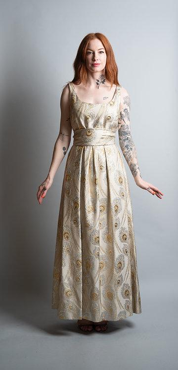 50's Ceil Chapman Peacock Brocade Gown