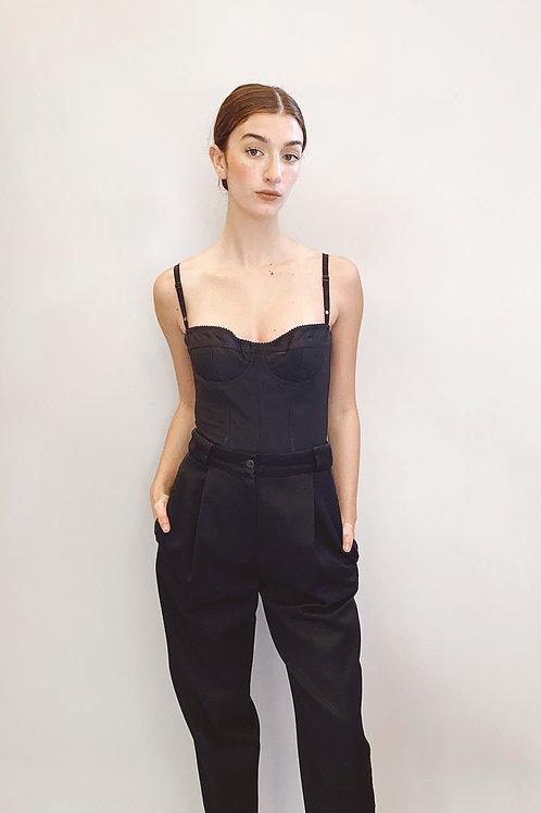 90's Dolce & Gabbana Black Nylon Bralette Bustier
