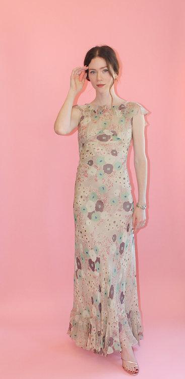 1930's Floral Bias Cut Dress