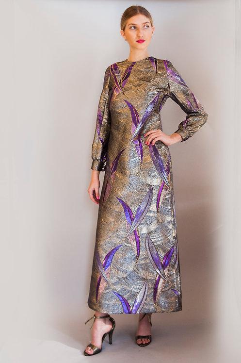 1980's Galanos Metallic Printed Gown