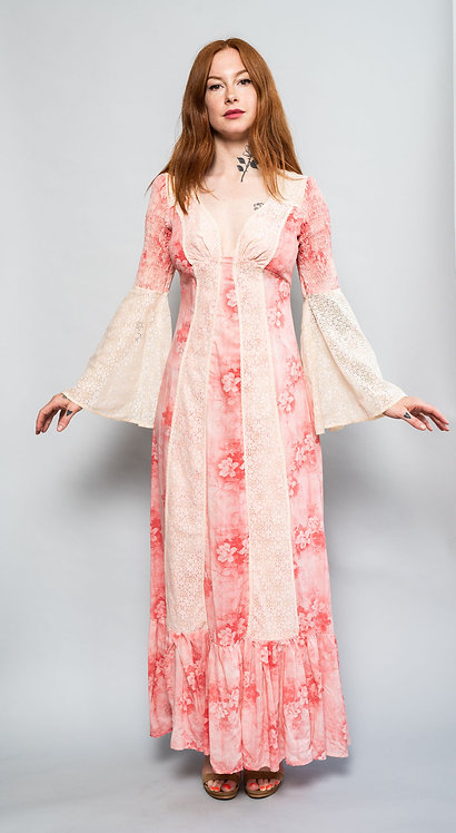 70s Floral Print and Lace Prairie Dress