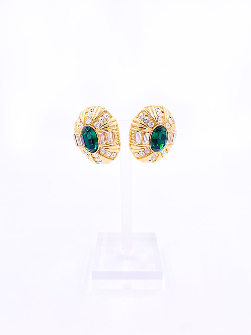 Emerald and Gold Clip-on Earrings