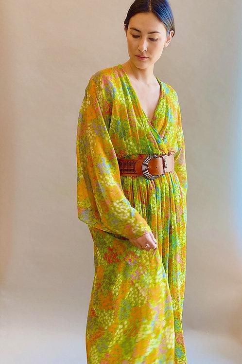 Oscar de La Renta 1970's Floral Print Kimono Sleeve Dress