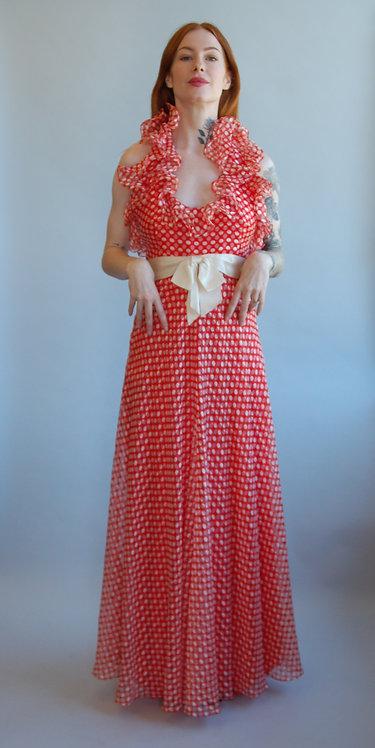 70's Geoffrey Beene Red + White Polka Dot Dress