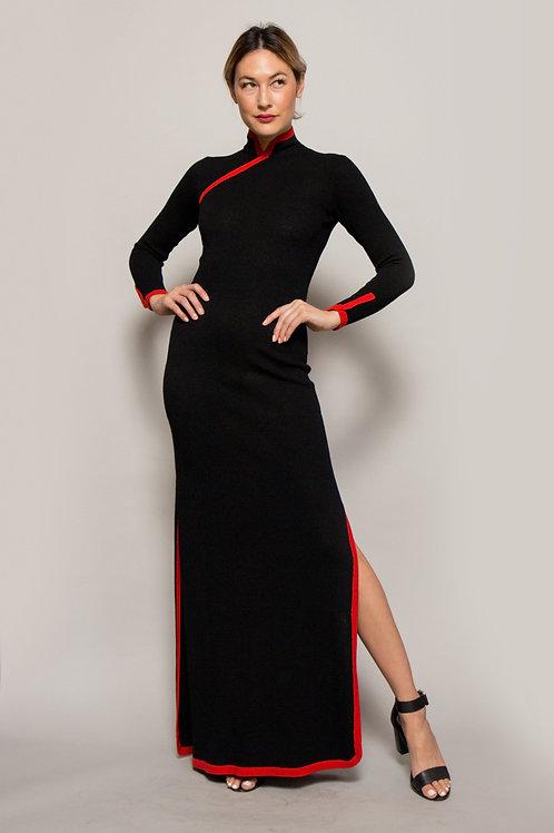 Adolfo Knit Cheongsam Style Dress