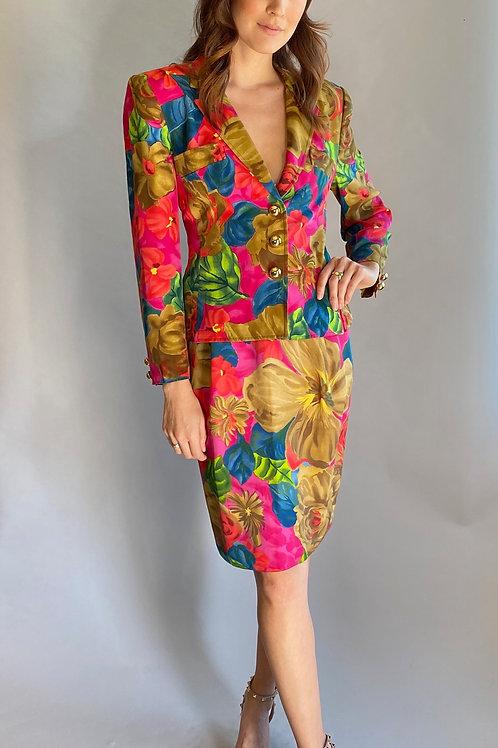 Christian Lacroix Floral Print Suit with Gold Buttons